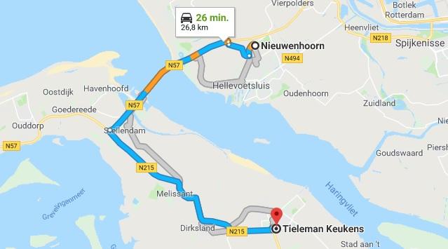 Kaart Nieuwenhoorn naar Tieleman Keukens