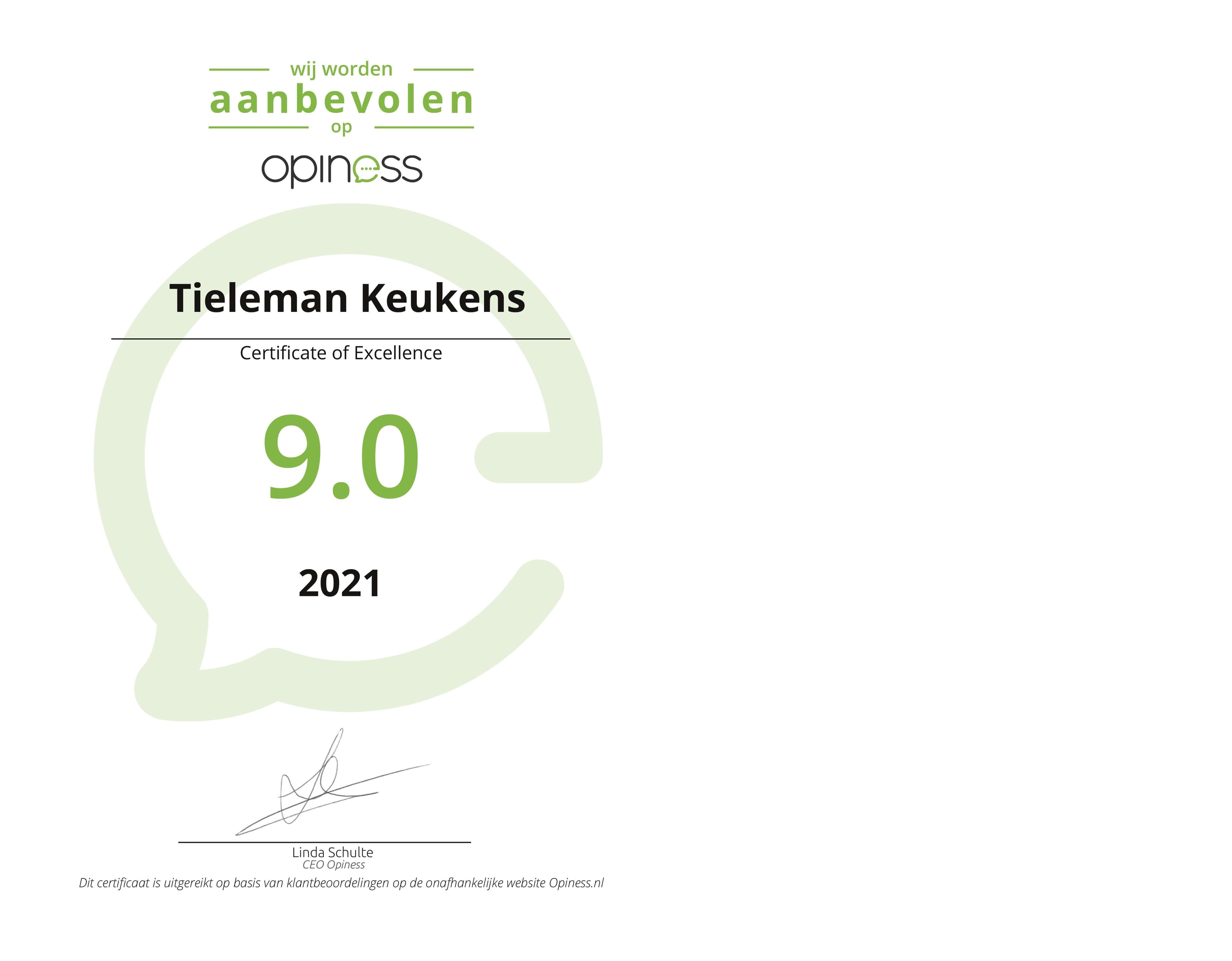 Certificaat Opiness Tieleman Keukens