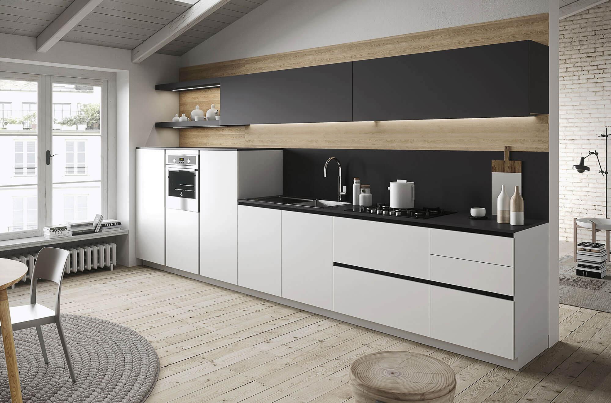 Snaidero Witte keuken met zwart blad