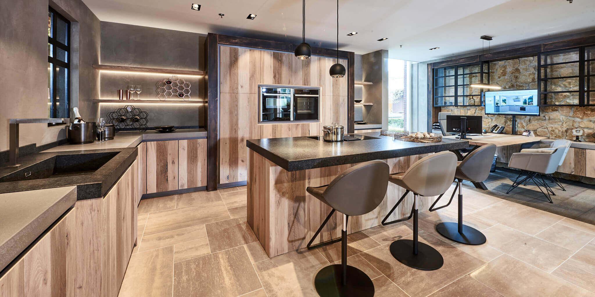 Tielemans exclusief eiken houten keuken kookeiland