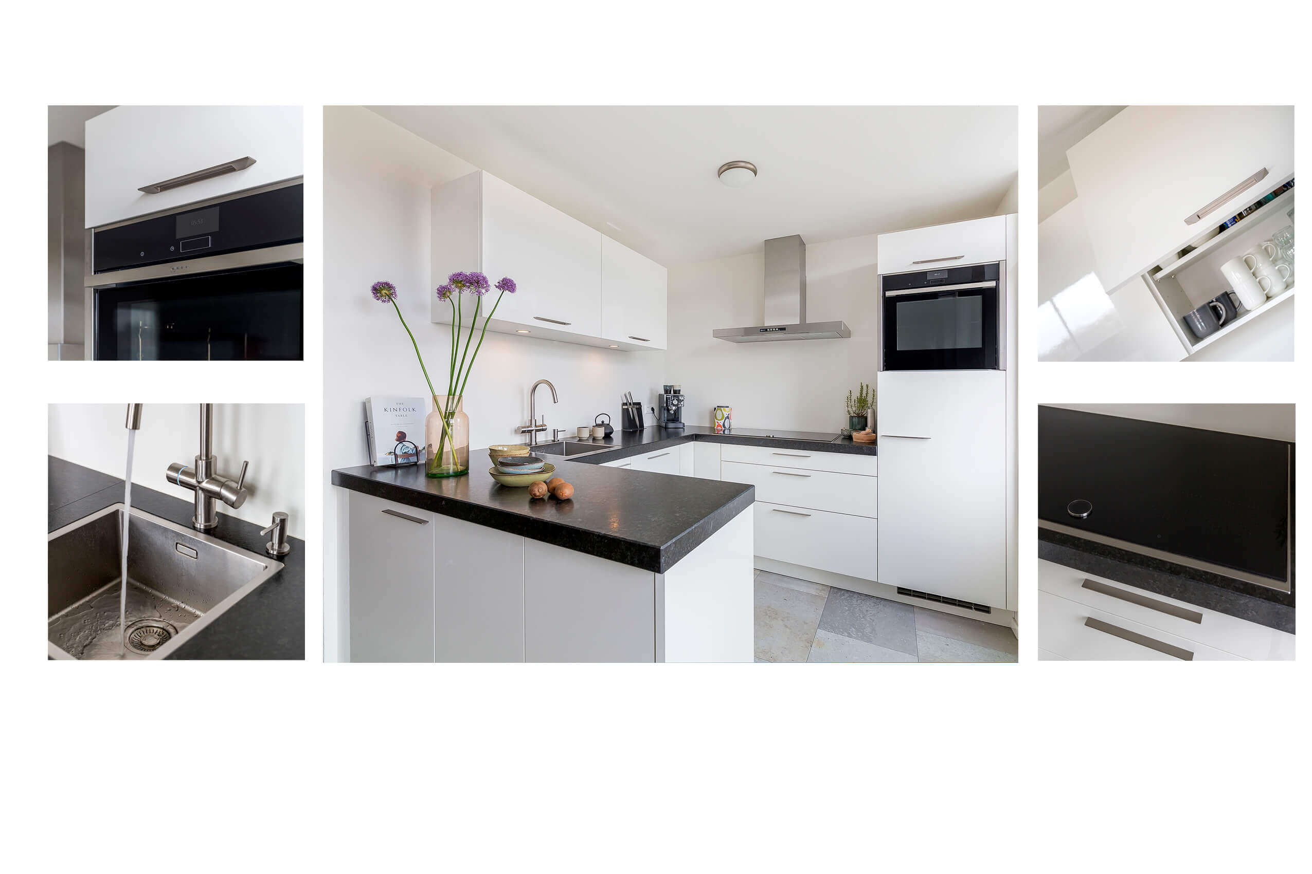Keukeninspiratie witte U-keuken met granieten blad
